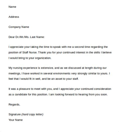 Thank You Letter Nursing Assistant Sle Thank You Letter After 15 Free Documents In Word Pdf
