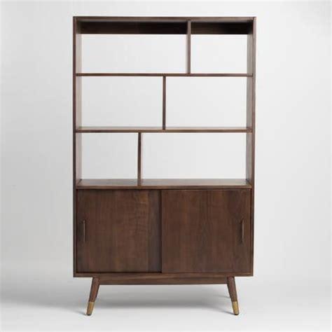 walnut brown wood randi mid century bookcase world market