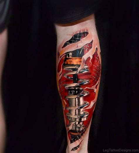 50 wonderful biomechanical tattoos on leg