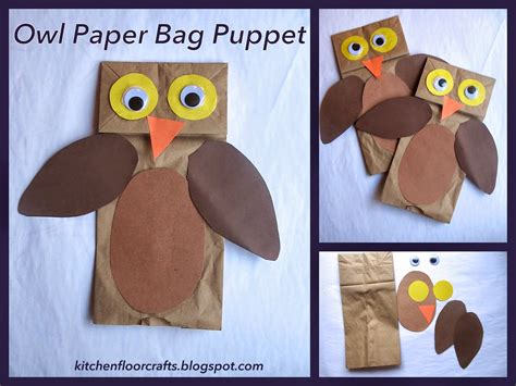 Paper Bag Puppets - kitchen floor crafts owl paper bag puppets
