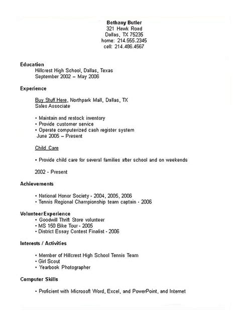 college resume exles for highschool students 6 resume for high school students points of origins