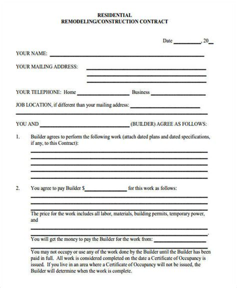 7 Construction Contract Template Free Sle Exle Format Download Sle Templates New Home Construction Contract Template
