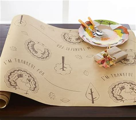 craft paper table runner craft paper thanksgiving table runner pottery barn