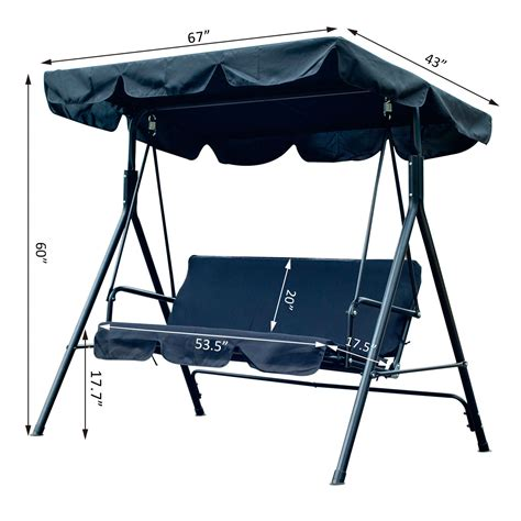 swing with canopy clearance outsunny 3 person canopy porch swing black pop up deals