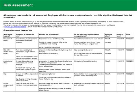 emergency risk assessment template assessment health and safety risk assessment form picture