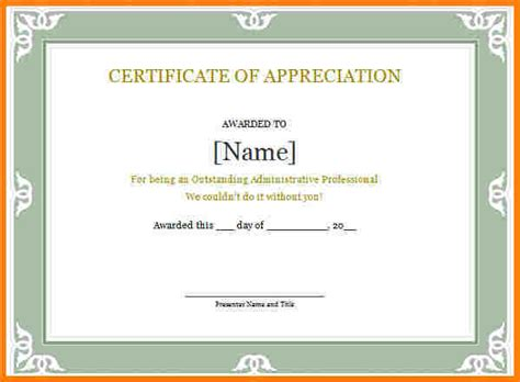 certificate of recognition word template 5 free certificate of appreciation template downloads