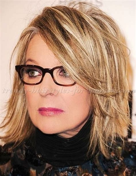 medium length hairstyle for over 50 oval face shape shoulder length hairstyles over 50 diane keaton layered