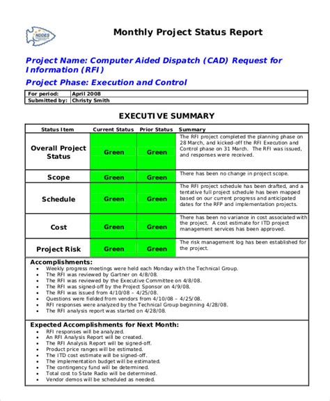 project monthly status report template status report template 10 free word pdf documents