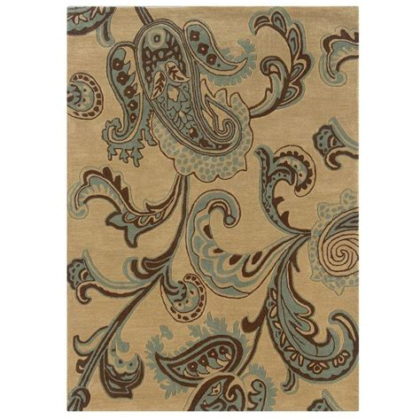 Beige Home Decor by Linon Home Decor Trio Collection Beige And Blue 5 Ft X 7