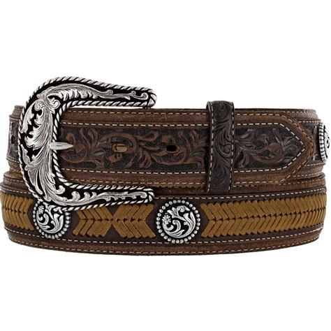 tony lama western mens belt leather brown laced conchos