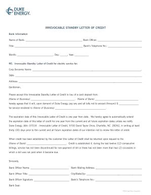 Letter Of Credit Utility Company 12 month letter of cred i t from d u k e energy fill printable fillable blank