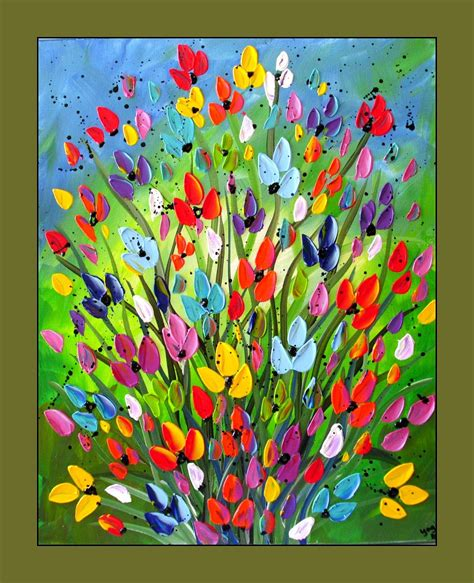 colorful canvas colorful flower painting textured flower painting on canvas