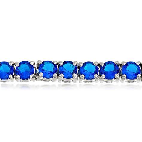 Blue Sapphire Color Tennis Bracelet 7in