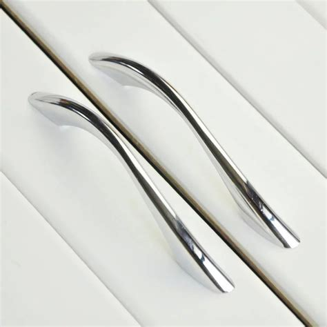modern bathroom kitchen drawer pull handles silver chrome