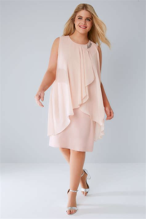 Layered Dress blush pink layered front dress with detachable diamante
