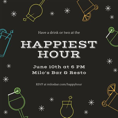 happy hour invitation templates canva