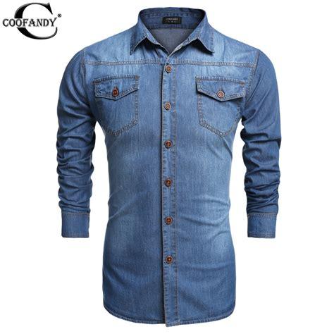 Dress Denim Baju Denim Longshirt Look Murah coofandy denim shirts casual shirt sleeve fashion slim camisa masculina mens