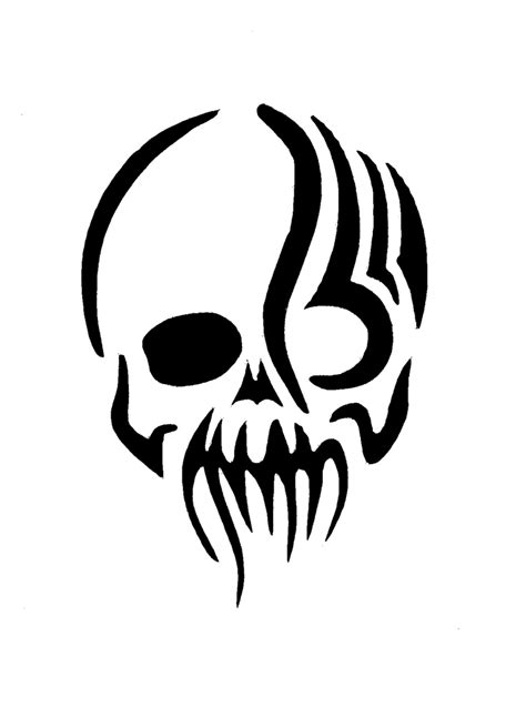 skull tribal tattoo tribal skull stencil www pixshark images galleries