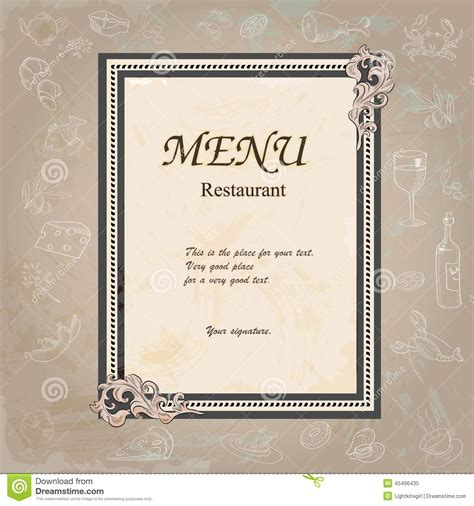 menu design label restaurant menu design with old floral frame stock vector