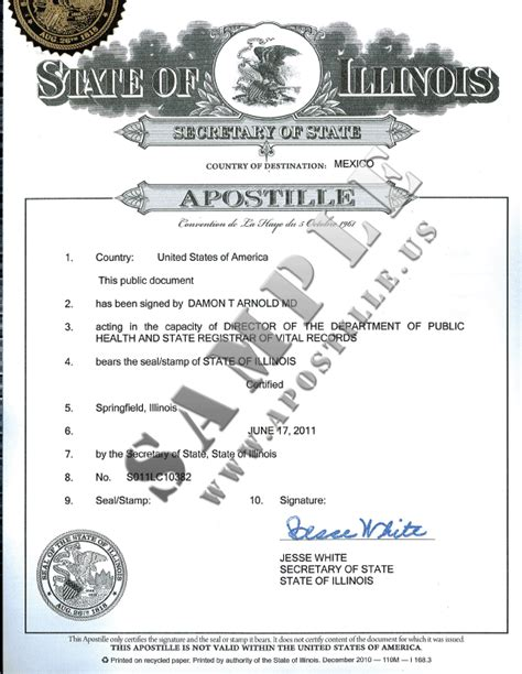 State Of Illinois Records Authentications Of Documents State Illinois