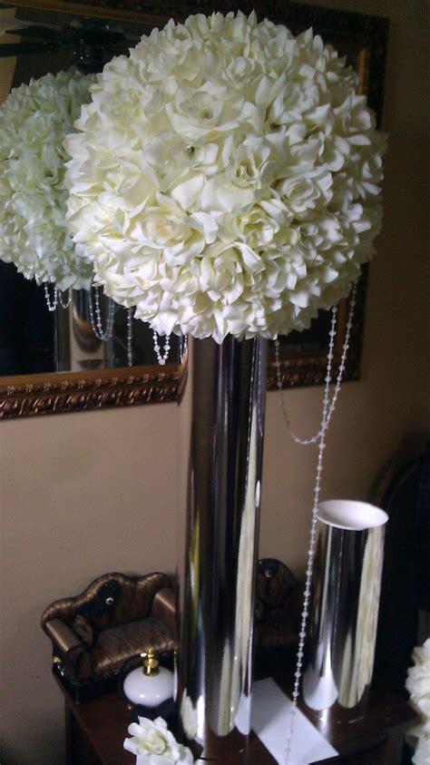 White Rose Kissing Balls   Wedding Decor   Wedding
