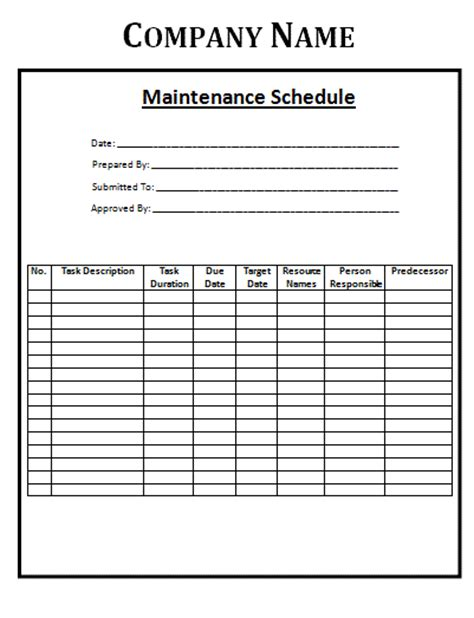 fleet maintenance schedule template maintenance schedule template images frompo