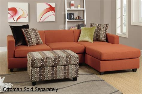 Curios Cabinets Maribel Orange Fabric Sectional Sofa Steal A Sofa