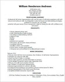 call center representative resume sles professional call center representative templates to