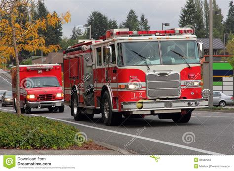 fire truck lights and sirens fire truck and paramedics royalty free stock images