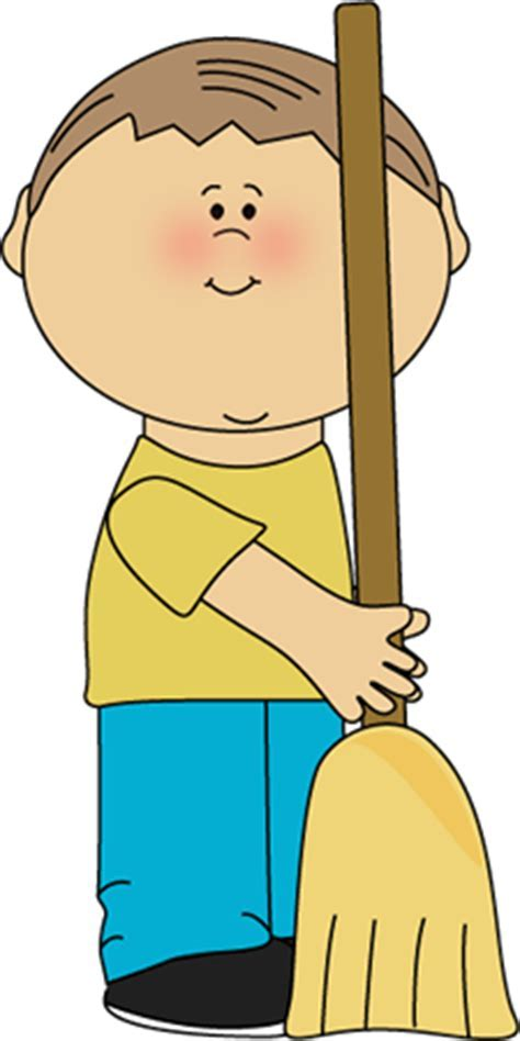 Boy With Broom Clipart