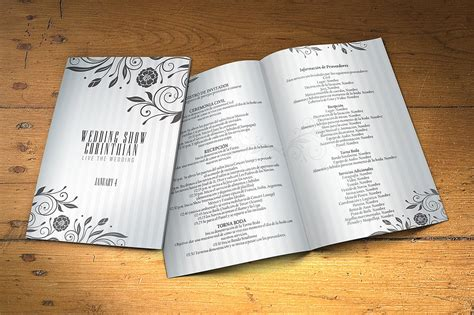 wedding program 2 sides psd template brochure templates