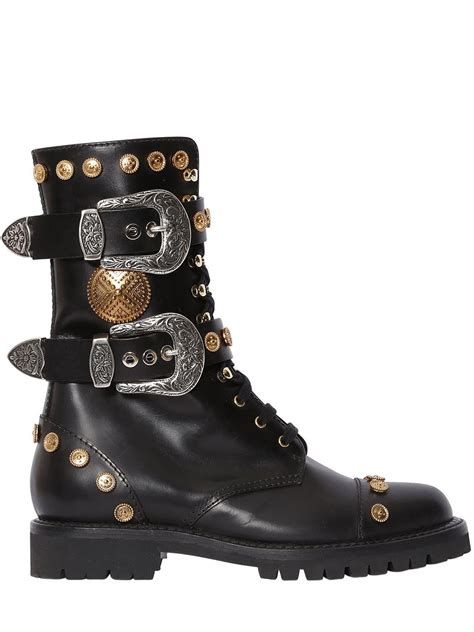 fausto puglisi 30mm studded leather combat boots in black