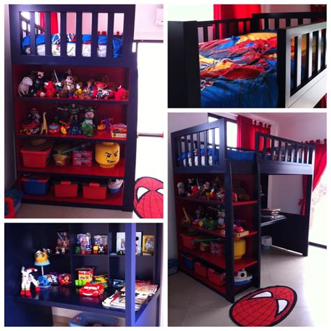 spiderman bunk bed spiderman theme colors bunk bed boys room pinterest