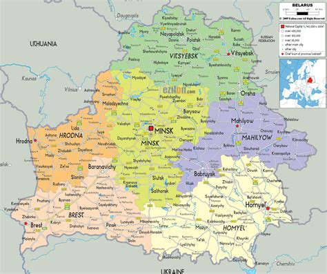 political map of belarus political map of belarus ezilon maps