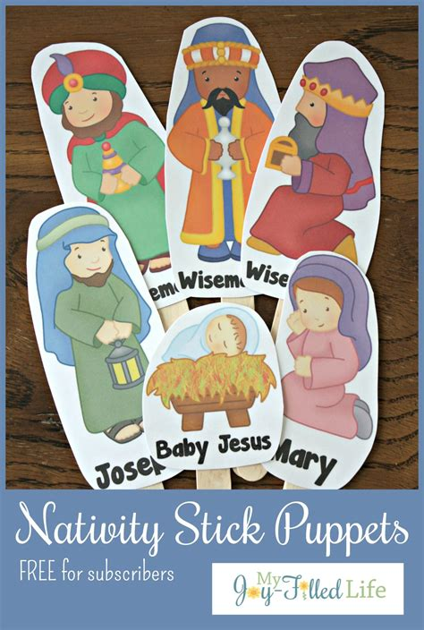 printable nativity scene puppets free printable nativity stick puppets my joy filled life