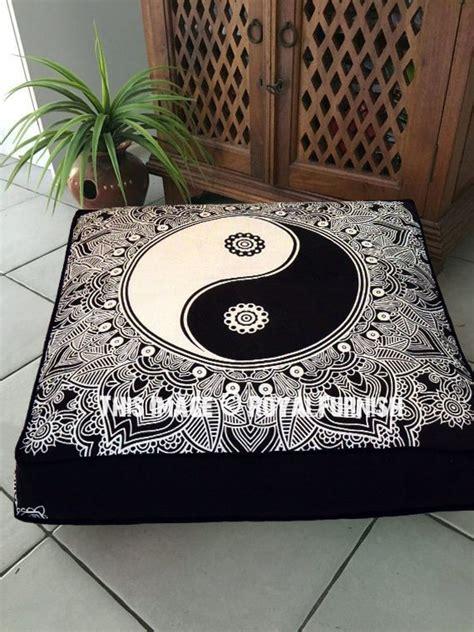 sheer black curtains 5701 black white yin yang peace on earth mandala square floor