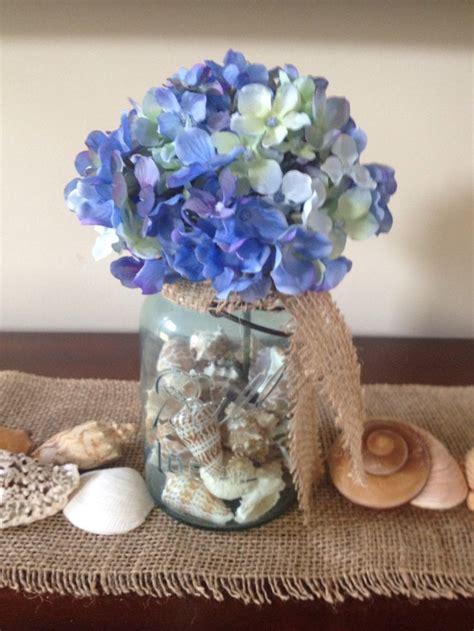 Seashell Vase Filler by Blue Hydrangea In Vintage Blue Jar With Seashell