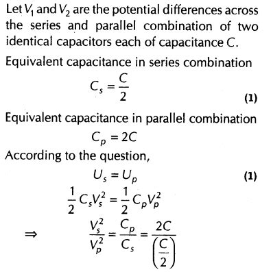 potential difference across each capacitor in parallel important questions for cbse class 12 physics capacitance