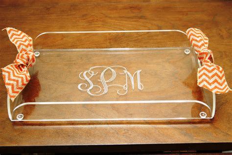 acrylic butler tray table personalized clear acrylic butlers tray