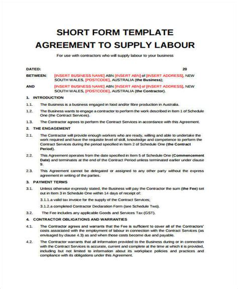 contract for hire template 10 labor contract templates free sle exle format