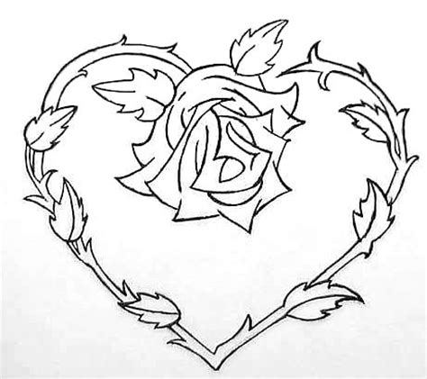 love heart and roses tattoos and flowers to color