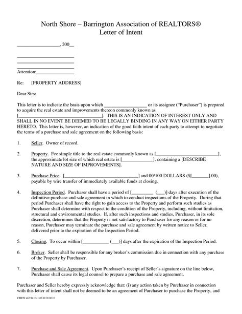 letter of intent to purchase property template commercial real estate letter of intent to purchase