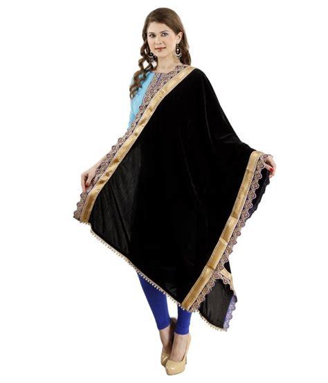 Etnic Black ethnic route black velvet shawls price in india buy