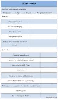 student feedback form sle student feedback form