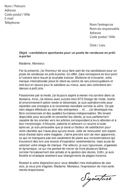 lettre de motivation zara vendeuse en pr 234 t 224 porter