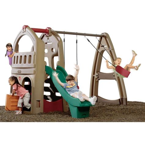 two swing swing set step 2 step2 climber and swing set browns tans shop