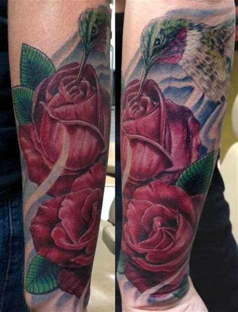hummingbird and rose tattoo hummingbird and roses by bart tattoonow