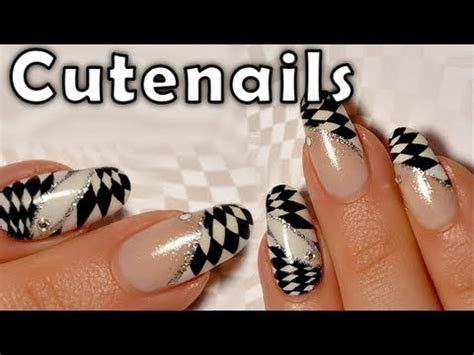 nail art checkered tutorial nail art checkered nails black white youtube