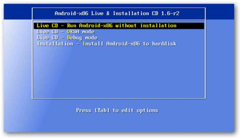 android boot menu live android on laptop or pc via livecd or usb android os