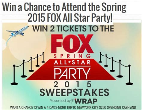 Fox Sweepstakes - fox spring all star party 2015 sweepstakes sweeps maniac